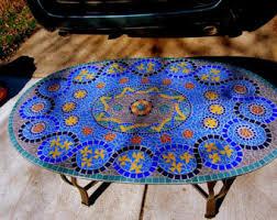 blue glass mosaic coffee table handcut glass tile on glass mosaic