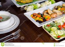 elegant dinner buffet with soup fish and vegetables stock photo
