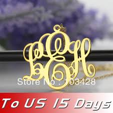 Three Initial Monogram Necklace Aliexpress Com Buy Free Shipping Gold Color Monogram Necklace