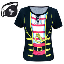 women pirate 3d t shirts with eyepatch halloween cosplay funny