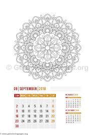 flower mandala september calendar coloring pages