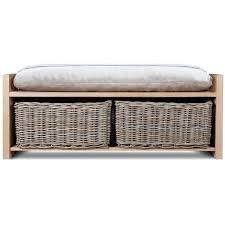 White Storage Bench Sausalito Bench With Baskets Hazelnut Beach Style Accent And