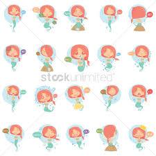 free mermaid emoticon set vector image 1346443 stockunlimited