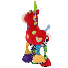 soft plush cartoon animal rattle red horse music pull bell toy