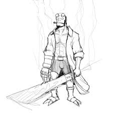 hellboy coloring pages hellboy sketch by dubhghall on deviantart