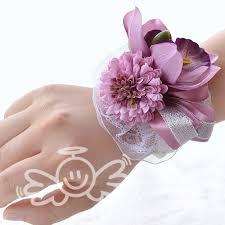Prom Wrist Corsage Bracelet Silk Flower Boutonnieres And Corsages Decorative Flowers