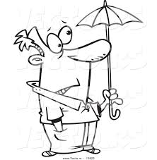 vector cartoon ill prepared man holding tiny umbrella