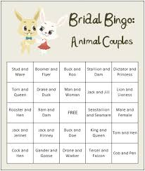 co ed bridal shower co ed bridal shower for free get our animal bingo