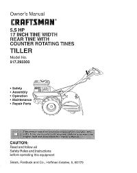 craftsman tiller 917 2933 user guide manualsonline com