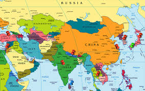 asia map map of world asia major tourist attractions maps
