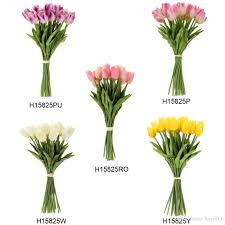 Long Stem Flowers Best Quality Newest Pu Material Artificial Tulip Flowers Single