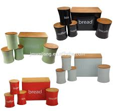 round bread bin and canister set with cake box in green view