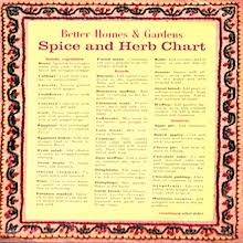 herb chart recipe spice and herb chart seasoning ideas 1970 s or 80 s
