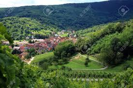 route des vines in alsace france village in vosges mountains