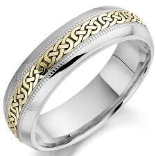 mens celtic wedding bands wedding ring mens white and yellow gold celtic knot