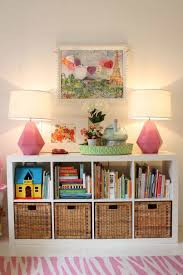 kids playroom with cube storage shelves creating cube storage