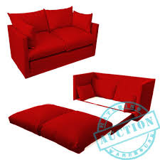 red fold out 2 seater small sofa sofabed double guest bed futon