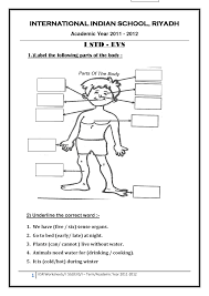 worksheet for class 1 evs body parts free printable worksheets