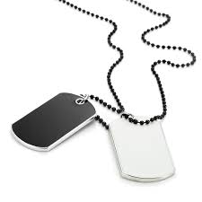 Engraved Dog Tag Necklace Army Style 2pcs Dog Tag Pendant Mens Necklace Chain With Branded