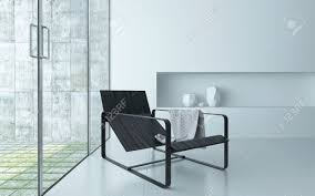 modern comfortable recliner chair on a metal frame in a modern