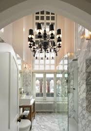 Chandelier With Black Shade And Crystal Drops Bathroom 21 Sensational Bathroom Chandelier Ideas For Your