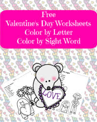 valentines day worksheets color by letter sight word