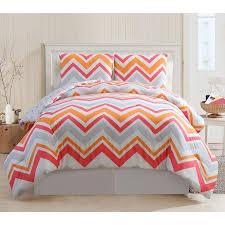 Comforter Orange Beautiful Pink White Grey Orange Chevron Modern Stripe Girls Soft