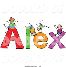 free doodle name vector clipart of a childs sketch of happy boys on the