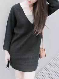 popular origin black v neck long sleeve knit jumper dress limited