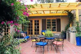 pergola small yard design with pretty garden and half round