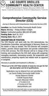Medical Records Job Duties Lac Courte Oreilles Community Health Center Comprehensive