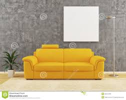 Modern Yellow Sofa Modern Yellow Sofa On Wall Interior Design Stock