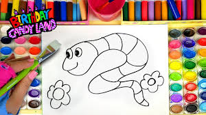 snake coloring page for kids to learn to color and paint youtube