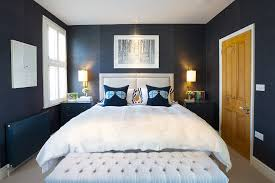 Contemporary Blue Bedroom - navy and gold bedroom bedroom contemporary with blue bedside