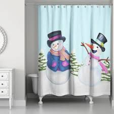 Snowman Curtains Kitchen Buy Christmas Shower Curtain From Bed Bath U0026 Beyond