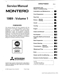 mitsubishi montero 1989 1 g workshop manual