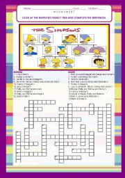 the simpsons family tree crosswords 21 sentences with answer key