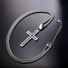 metal cross necklace images Stainless steel cross necklace exalted design all things christian jpg