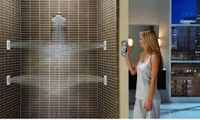 minimalist bathroom with moen body spray shower system and wall originalviews