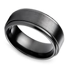 titanium mens wedding band step edge men s wedding ring in black titanium