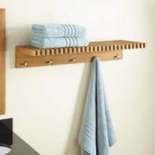 Hanging Bathroom Shelves by Bathroom Chic Appealing Brown Wood Racks And Gorgeous Black Iron