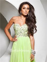 cute flowy sweetheart floor length lime green chiffon prom dress