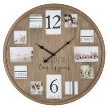 horloge murale ronde cadres photo pêle mêle en bois naturel d59cm