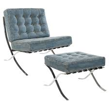 armless chair and ottoman set stainless steel framed lounge chair and ottoman set with tufted blue