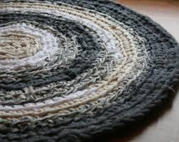 Rag Area Rug Large Wool Rug With Crochet Cotton Rope Edge Handmade