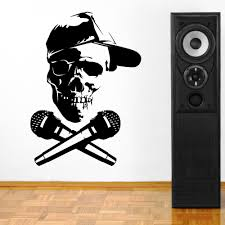 skull microphone promotion shop for promotional skull microphone personality skull microphone vinyl stickers movable mural art of creative home living room wall stickers room decor f 132
