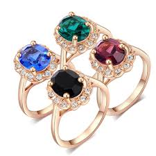 green fashion rings images Luxury female fashion jewelry black green blue red stone rose gold jpg