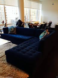 Gold Sectional Sofa 6500 Mitchell Gold Navy Blue Velvet Button Tufted