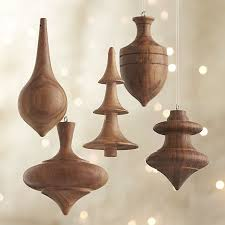 turned wood ornaments will give your tree mid century style ho
