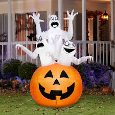 gemmy airblown inflatable 6 u0027 x 4 u0027 ghost trio halloween decoration